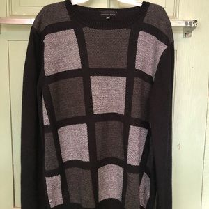 Men's black and gray square sweater